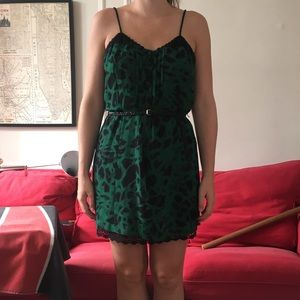 Kensie Green & Black Dress with Lace Trim Large